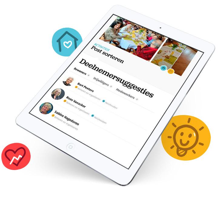 Tablet met voorbeeld van Soulcenter app